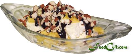 Chocolate-Pineapple Sunday with Chopped Almonds