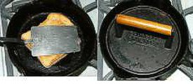 pressing grilled cheese sandwich